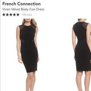 French connection Viven velvet bodycon dress